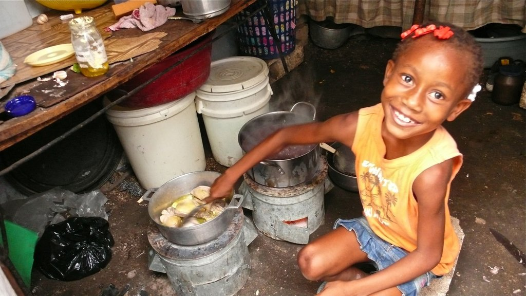 "A young Haitian girl cooks a meal over two Zanmi Pye Bwa (""""Friend of the Trees"""") clean cookstoves in the Delmas 60 Tent Camp in Port-au-Prince. The Zanmi Pye Bwa, designed by Trees, Water & People and International Lifeline Fund, reduces a family"