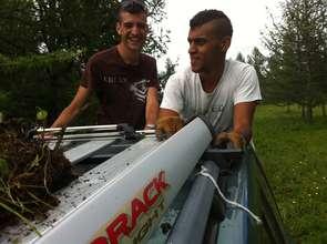 French volunteers having fun collecting seedlings.