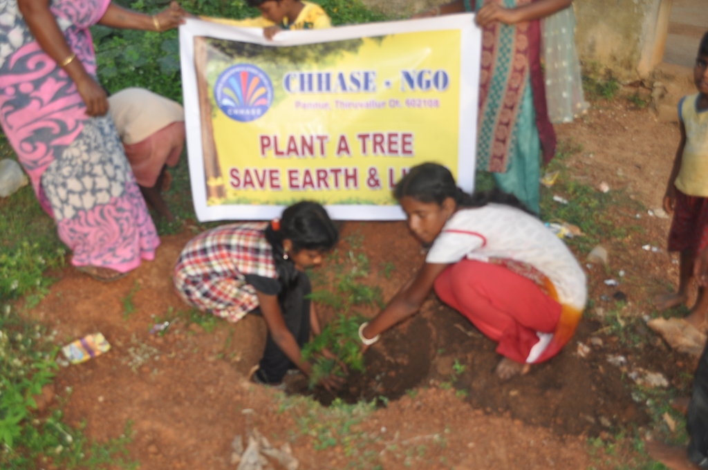 CHHASE awareness on climate change brought children to plant and care the trees.This photo is our issue of 500 plants to 500 school children.