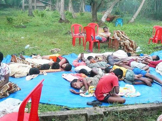Boys sleeping at summer camp