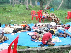 Boys sleeping at summer camp