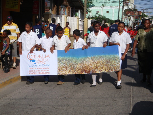 Roatan youth celebrating Cordelia's designatation