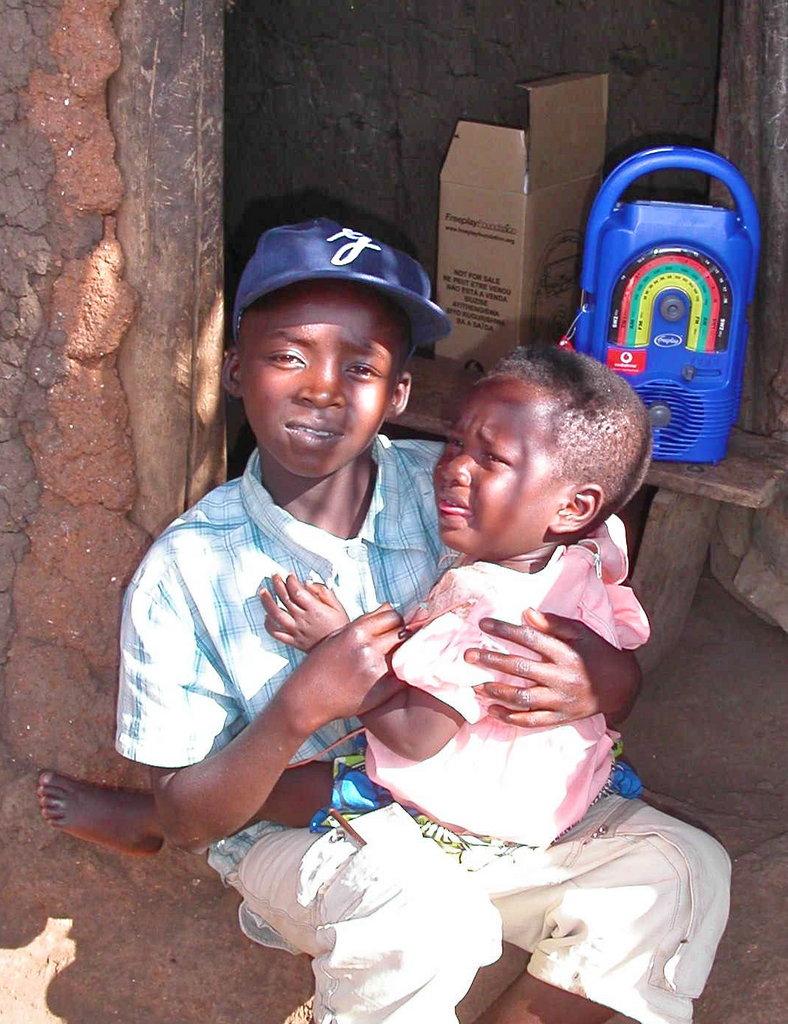Jonathan, 11, with his sister.