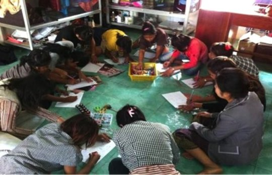 Bopha and friends at Art Therapy session