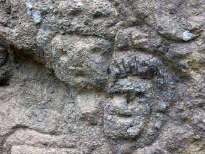 Petroglyphs of faces at El Farallon