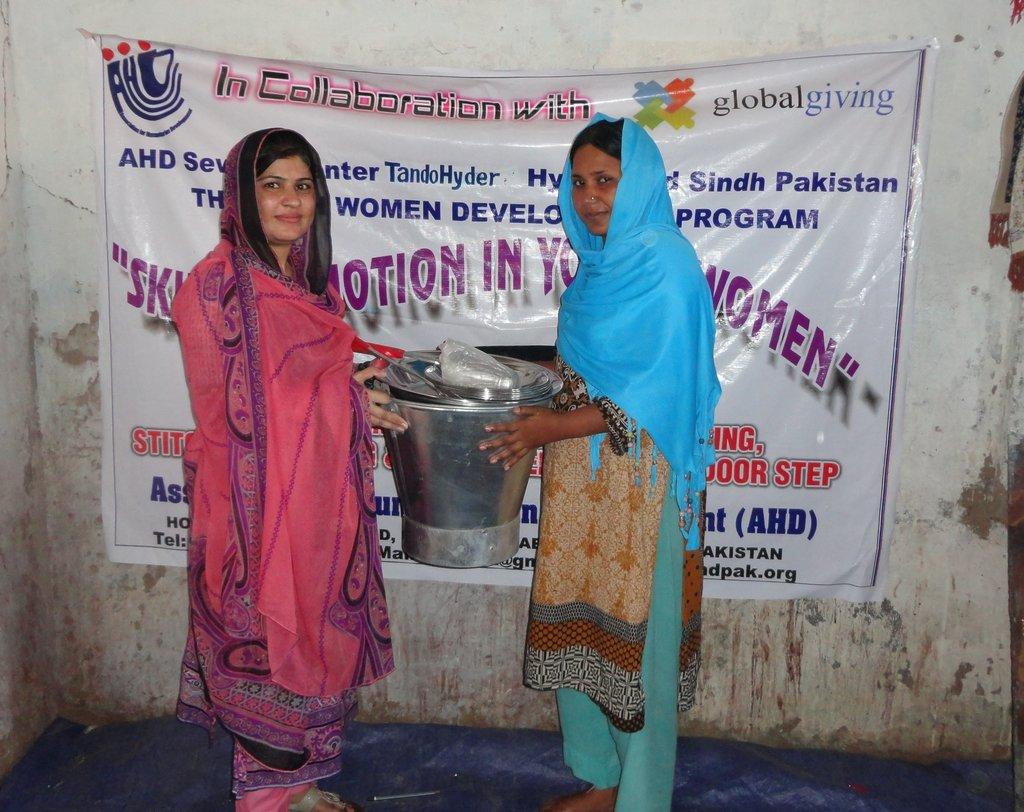Bucket and utnesils to women