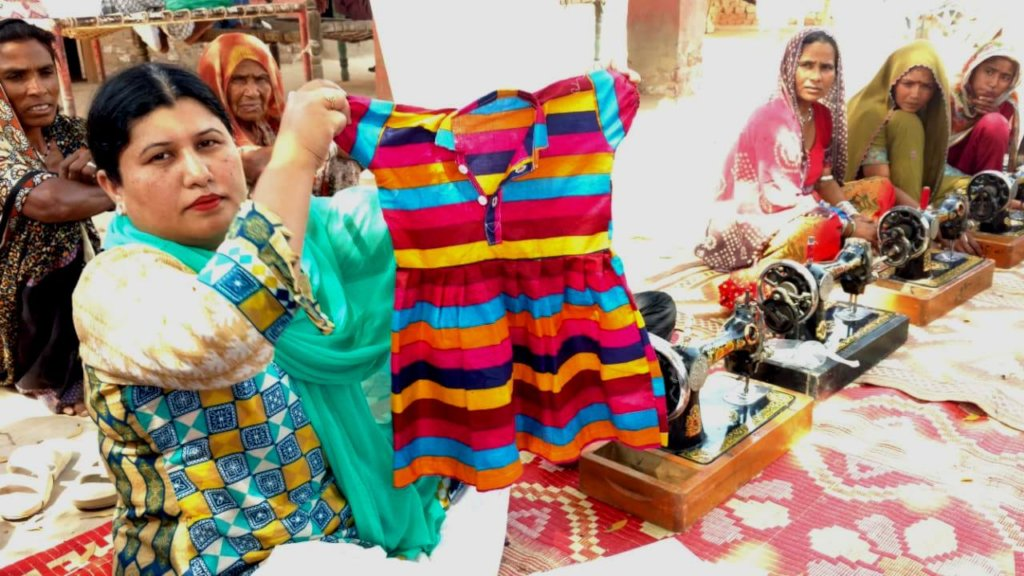 Cloths siewed by new women in learn sewing skills