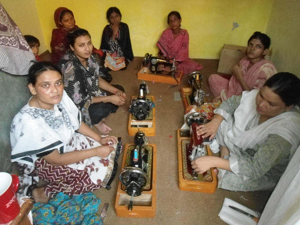 One of training center women busy in sewing
