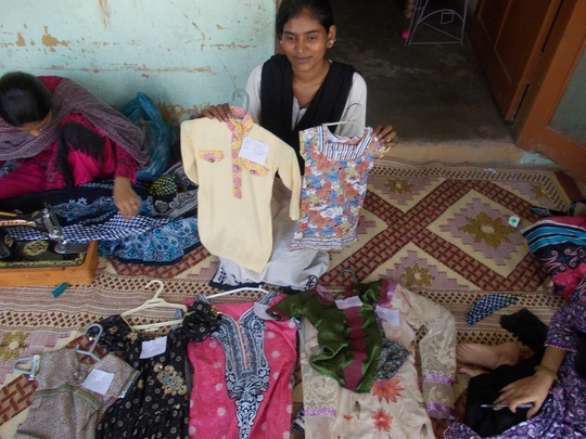 Young Women learn sewing skills