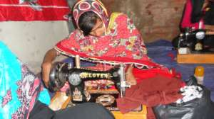 Girl skilled with sewing skills
