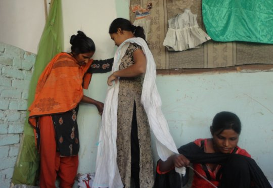Young women sewing skills