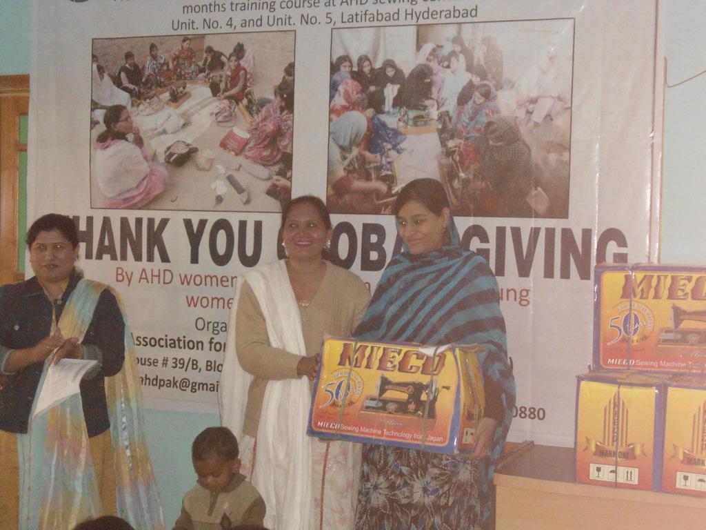 Mrs. Shazia Saleem presenting sewing machine