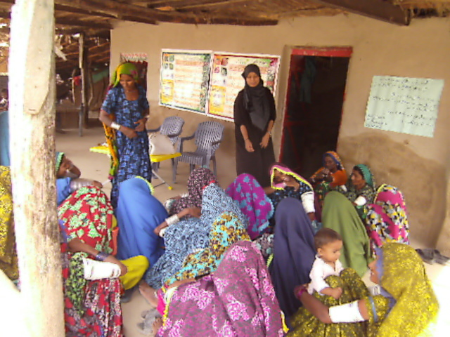 Women participating in skill training