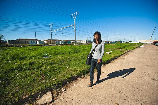 Scholar Tasneem on her way to class