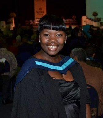 Zinthathu at her college graduation ceremony