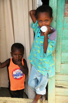 Two brothers in a village near feeding center
