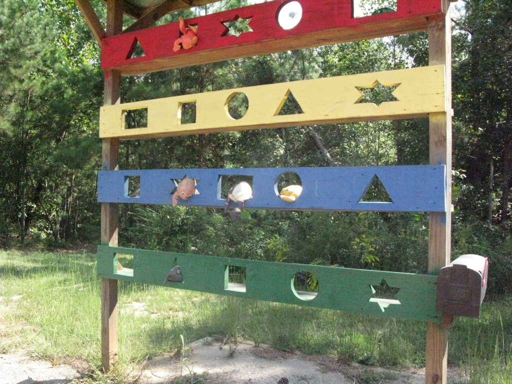 Colorful shapes on the Jacob Beachy Sensory Trail