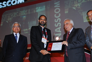 Receiving the Nasscom Award