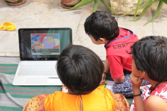 Children watching an AniBook