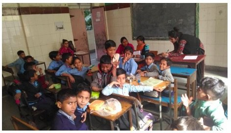 Janakpuri students involved in AniBook test