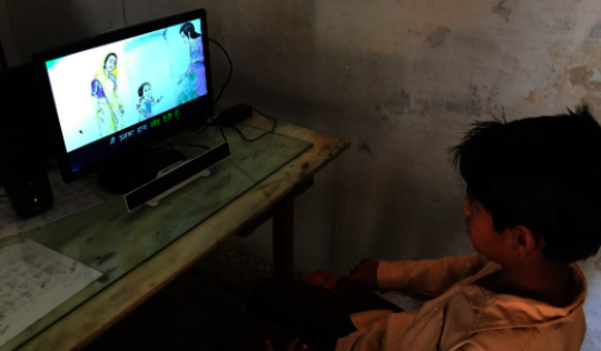 Viewing a story with SLS in Rajasthan, India
