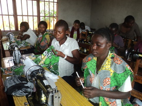 Sewing class for girls at Virunga center Goma