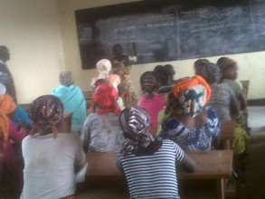 Women meeting for literacy class CV/Kibati, DRC