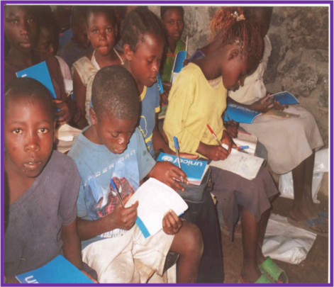Displaced children class in Children's Voice cente