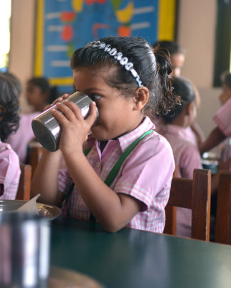 Drinking milk from steel mugs, instead of plastic
