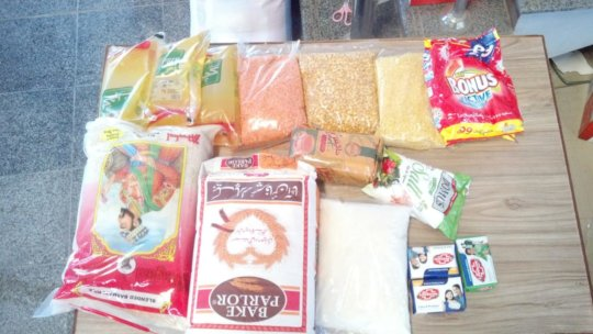 In the Care Packages: lentils, rice, soap and more