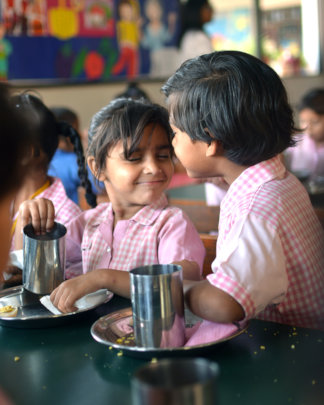Breakfast for KG school-children in Pakistan