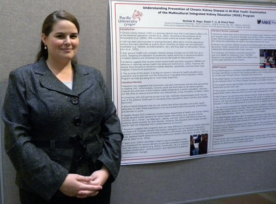Nichole Sage of Pacific University with poster.
