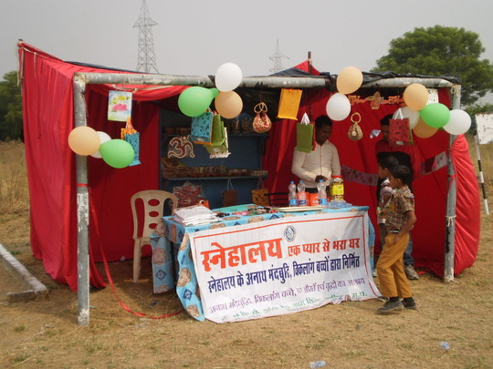 Snehalaya stall with items made by children in VTC