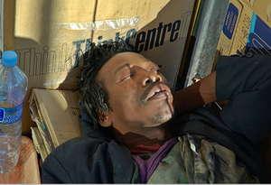 Homeless man, sleeping on streets of Barcelona