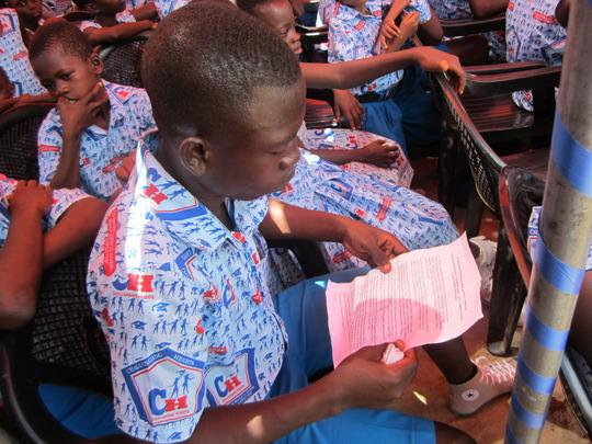 School Prefect preparing for his speech