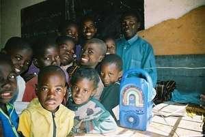 A Grade 1 class of Zambian students