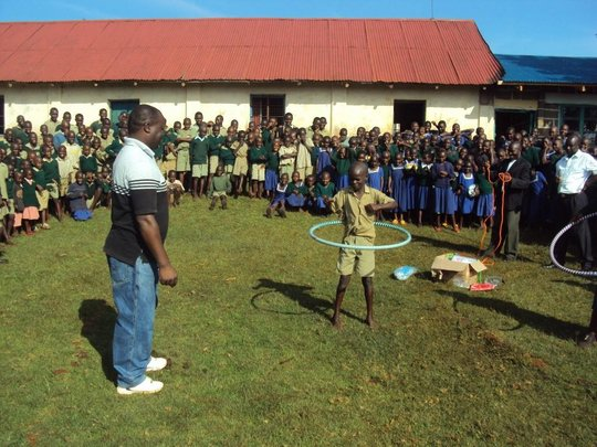 Bigogo primary pupil using the new recreational ki