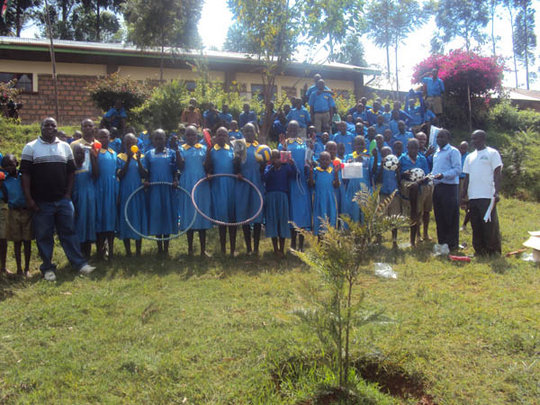 pupils dispaying the kits received