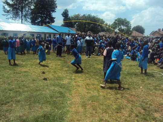 Tombe Primary school pupils using the new rope