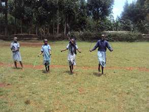 Girls skipping their new ropes in Nyambaso pr sch