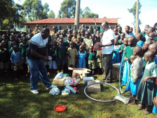 New sports kits for children in Nyakongo pr schl