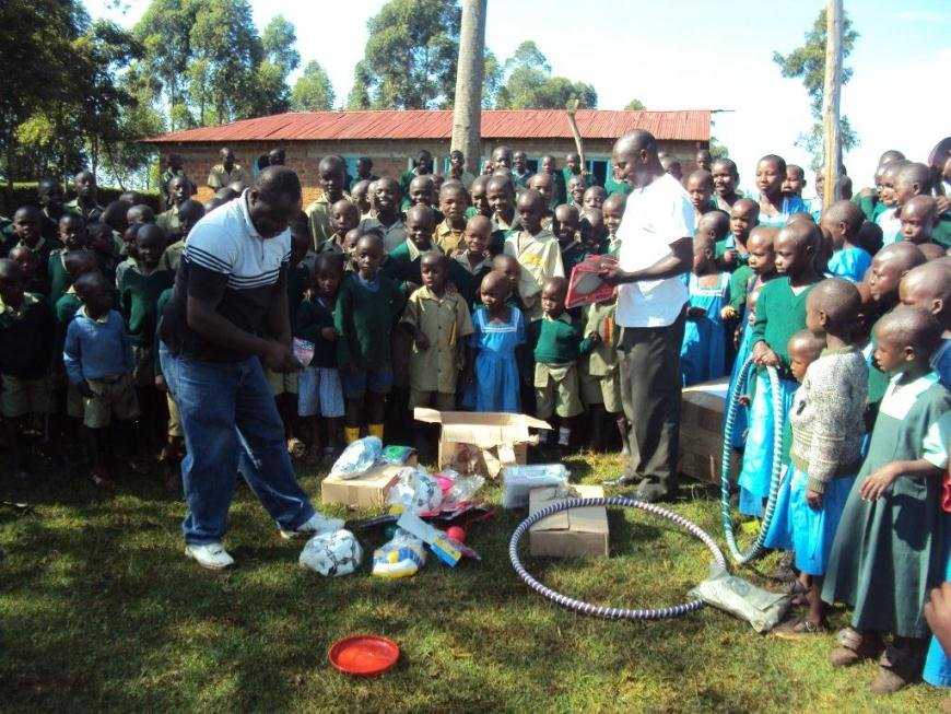 New sports kits for children in Nyakongo pr schl