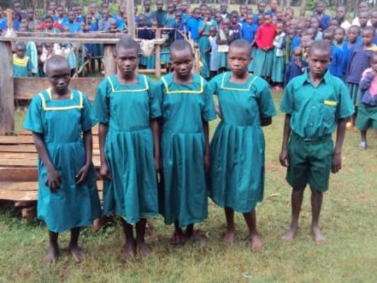 orphans in their new uniforms