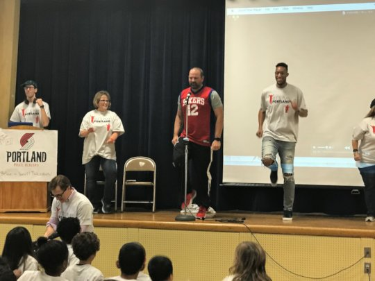 Evan Turner encouraged students to get moving!