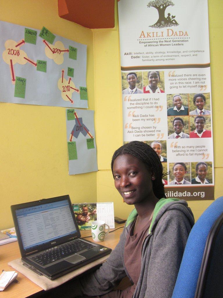 High school alumna Gloria interns for Akili Dada