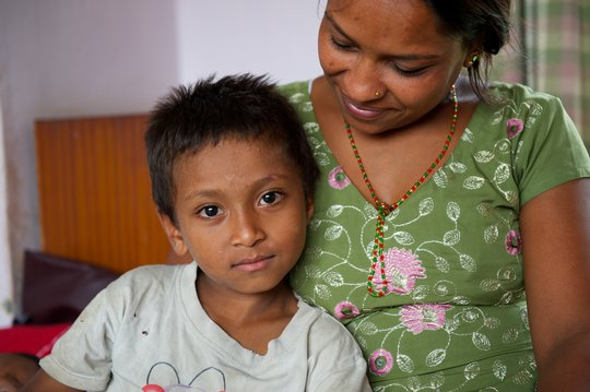 A mother and son at New Life Center