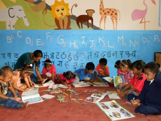 Classroom instruction for children at New Life Ctr