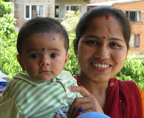 A mother and baby being treated for HIV/AIDS