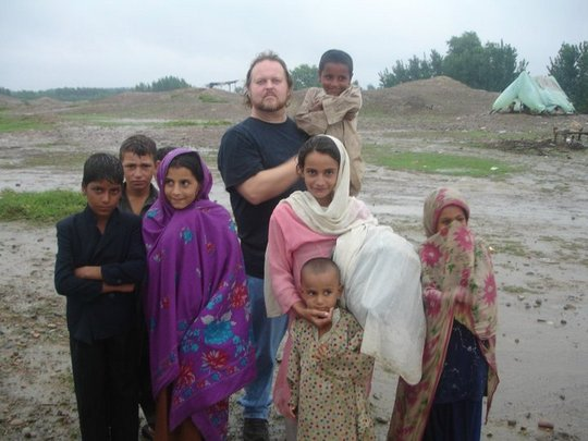 Todd Shea with some children in Swat Valley