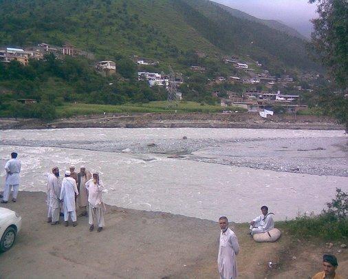 Village cut-off by flood waters